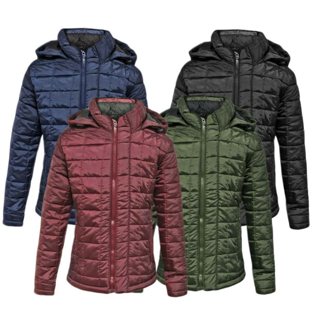 Mens Puffer Check Quilted Ma1 Padded Jacket Hooded Bubble