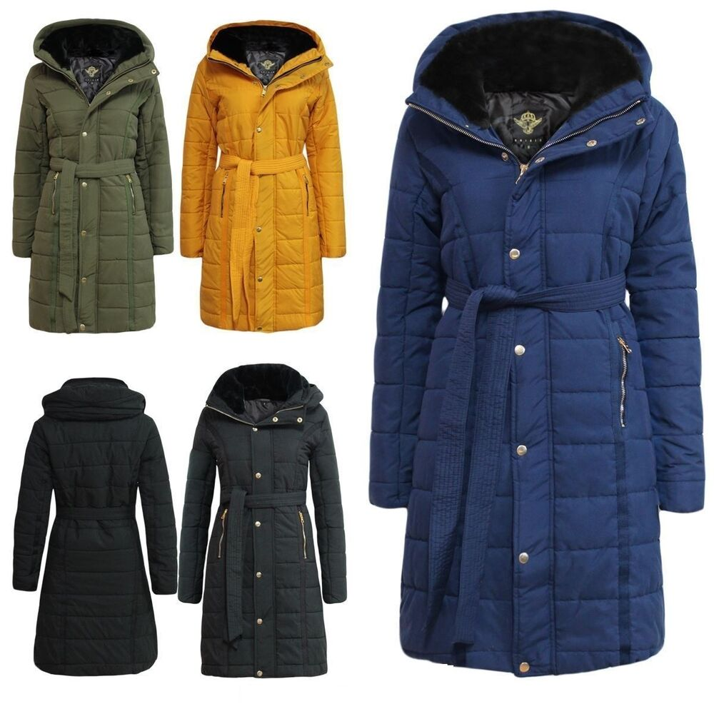 fb8f634ae043a Details about Ladies Puffer Quilted MA1 Long Jacket Womens Bubble Padded  Warm Thick Fur Coat