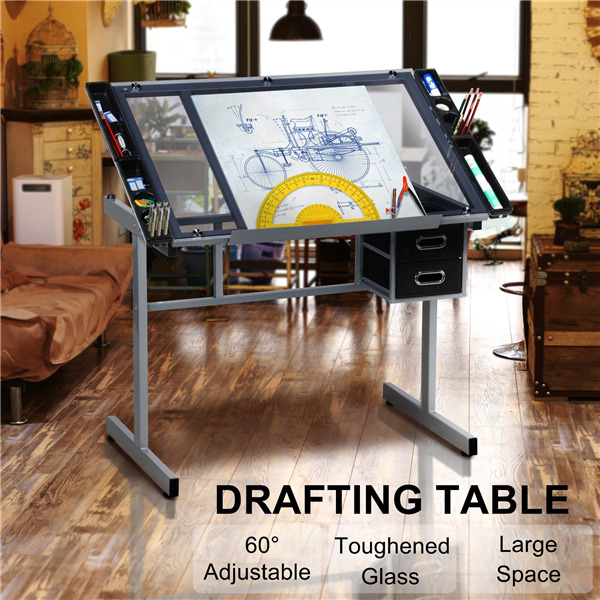 Adjustable drafting drawing craft table art glass desk w for Art and craft workstation
