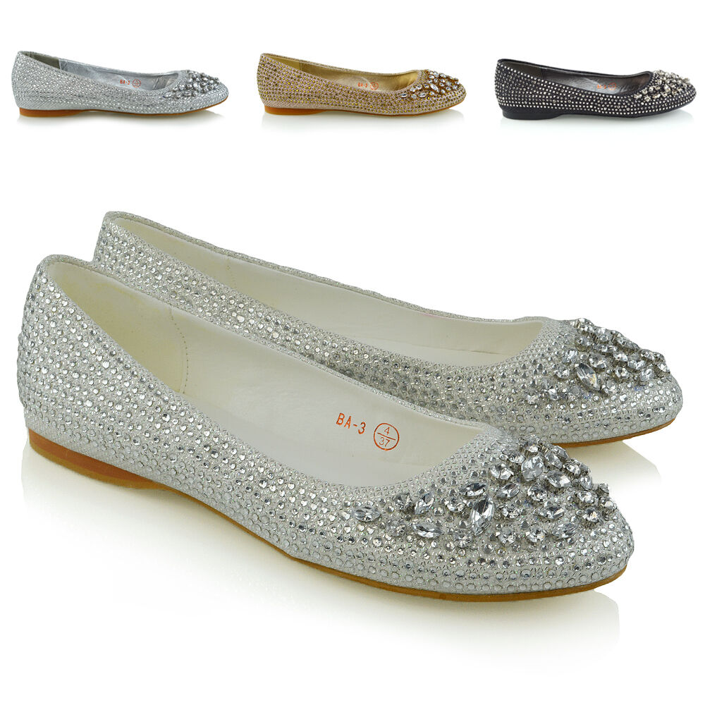 Womens Bridal Shoes Diamante Glitter Ladies Flats