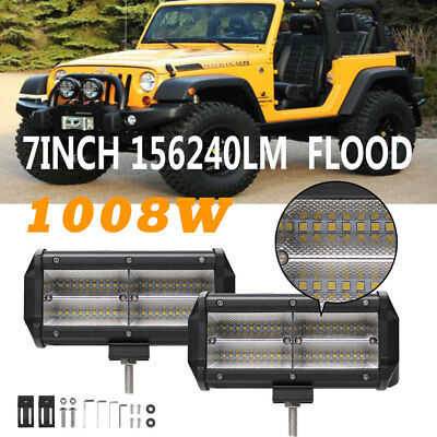 2X 7Inch 1008W 4-Row Led Pods Work Light Bar Flood Beam Fit For Jeep Wrangler JK