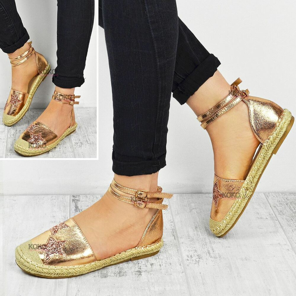 31dc9129ee0 Details about Womens Ladies Flat Espadrilles Rose Gold Sandals Ankle Strappy  Summer Shoes Size