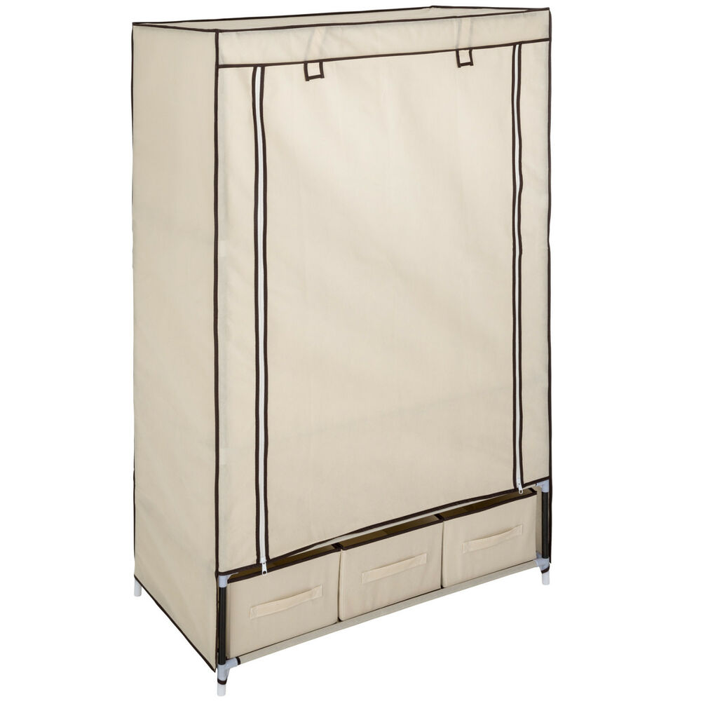 armoire de rangement penderie dressing en tissu textile pliable 3 tiroirs beige ebay. Black Bedroom Furniture Sets. Home Design Ideas