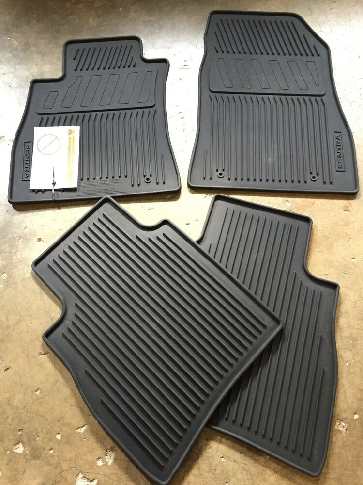 new oem 2014 2017 nissan sentra 4 pc all weather rubber floor mats black ebay. Black Bedroom Furniture Sets. Home Design Ideas