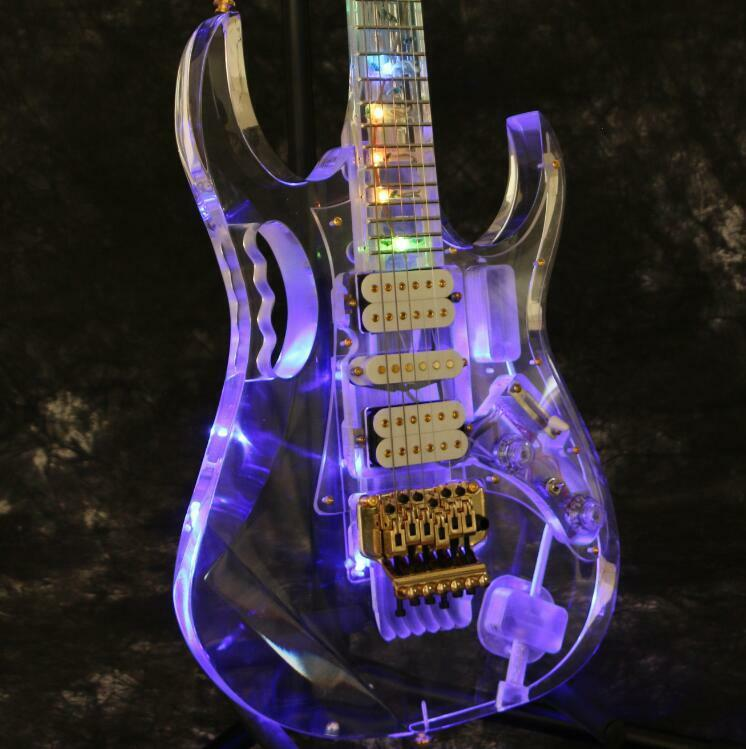 starshine multicolor full acrylic led light electric guitar crystal flower inlay ebay. Black Bedroom Furniture Sets. Home Design Ideas