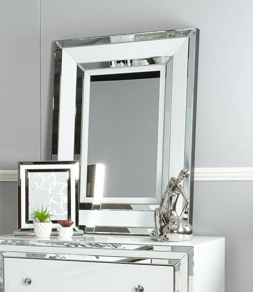 Madison white glass mirrored trim dressing table bedroom for Wall table with mirror