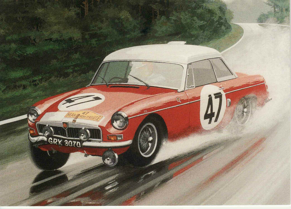 MG MGB Nurburgring 84 hours Winner card 1966 Race Rally Du Mans ...