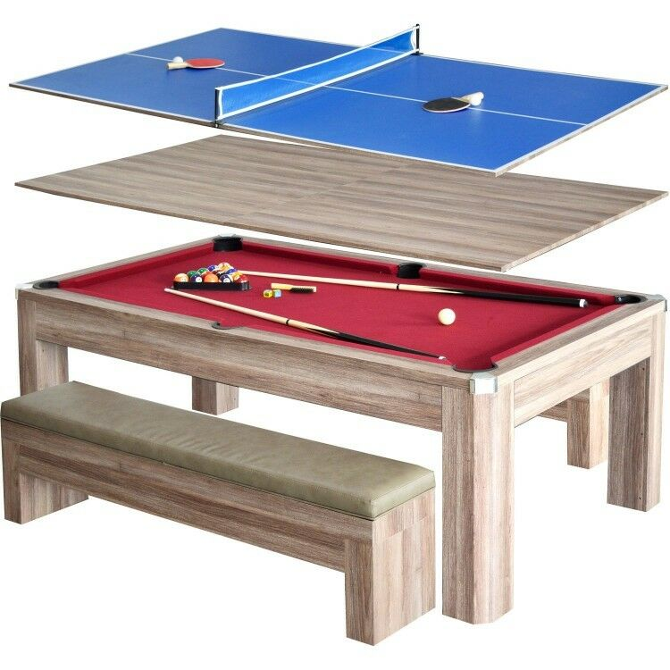 Pool Table Ping Pong Table Combo Set W Benches Accessories And Hide Away  Storage