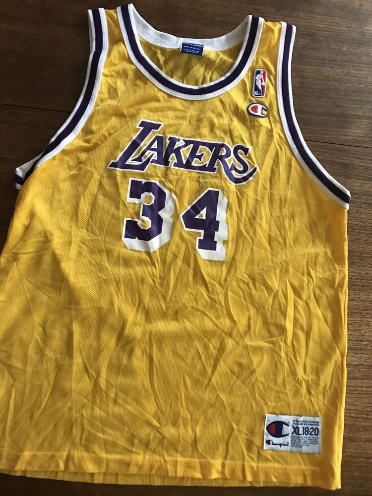 1368997462f9 Vintage Shaquille O Neal Lakers Youth XL 18-20 NBA Jersey Champion MINT !