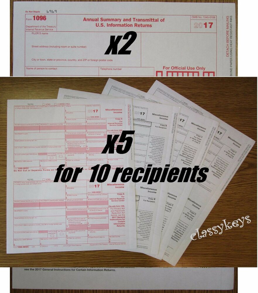 2017 IRS Tax Form 1099-MISC Laser 10 Recipients+(2)1096
