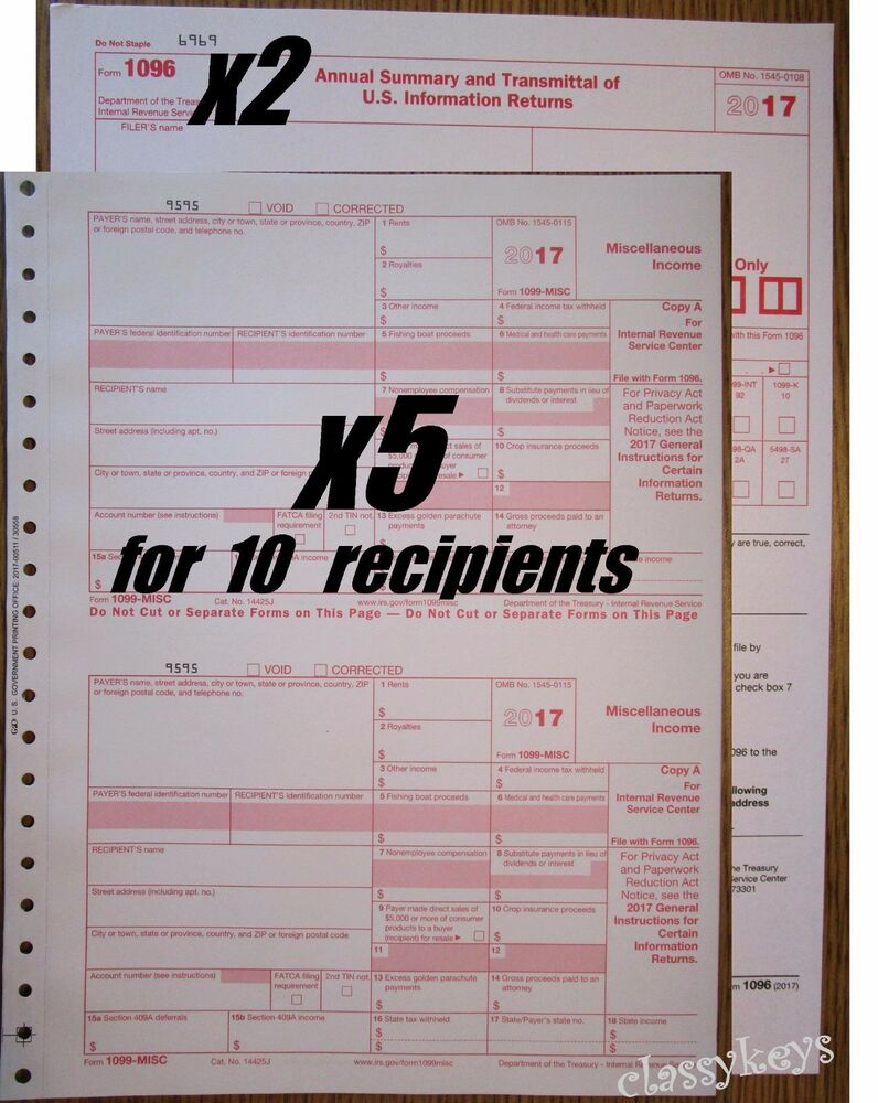 2017 irs tax form 1099 misc carbonless 5 sets for 10 recipients 2017 irs tax form 1099 misc carbonless 5 sets for 10 recipients 2 form 1096 ebay falaconquin