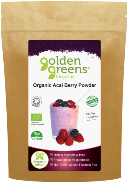 Golden Greens Organic Acai Berry Powder, 50g - Anthocyanins - Antioxidant