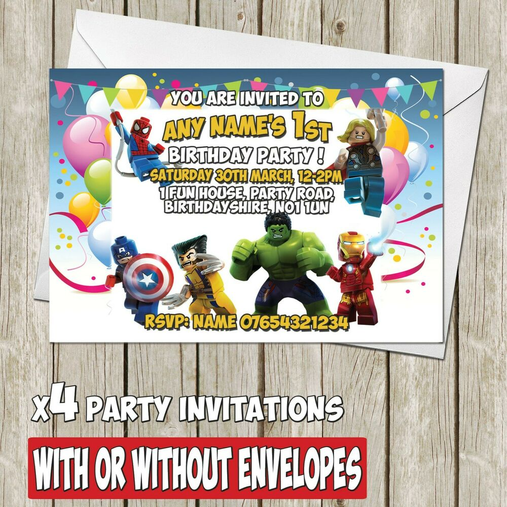 Details About X8 Lego Marvel Avengers Personalised Birthday Party Invitation Invite A6 I051