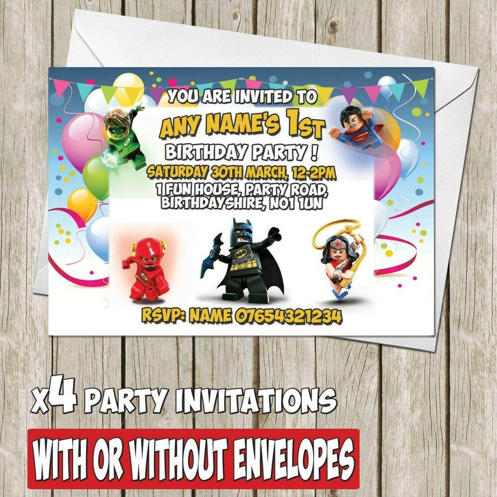 Details About X8 Lego Justice Batman DC Personalised Birthday Party Invitation Invite A6 I052