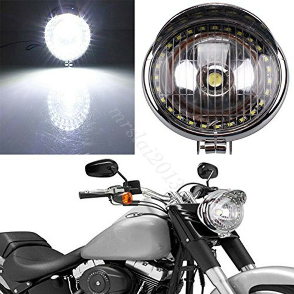 27 led scheinwerfer lampe angel eye chrom f r motorrad. Black Bedroom Furniture Sets. Home Design Ideas