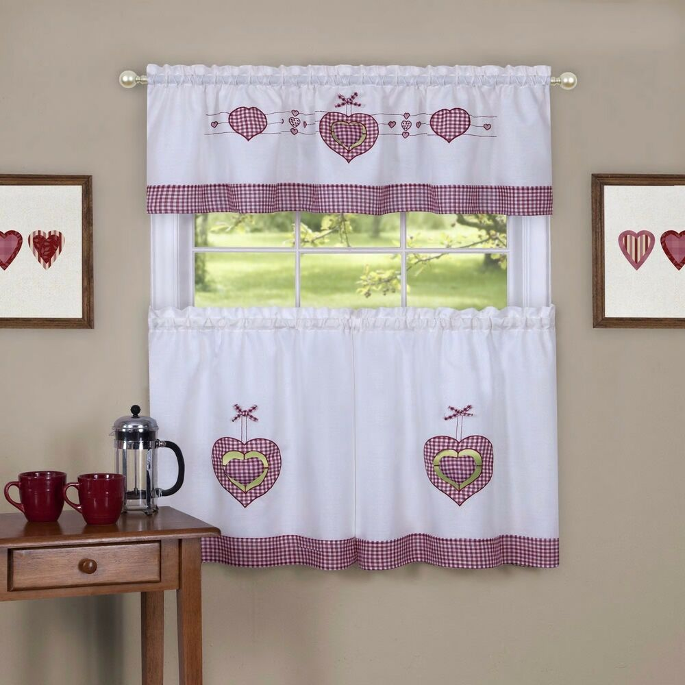 Gingham Curtains Red And White Gingham Curtains Kitchen: Tier And Valance Gingham Hearts Window Curtain Set Red