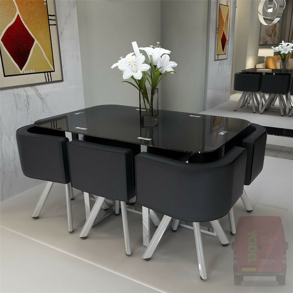 glass dining table with 4 6 chairs set round tempered. Black Bedroom Furniture Sets. Home Design Ideas