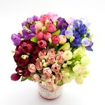 Bunch of 15 Varied Small Roses! Artificial Flowers Bouquet Fake Silk Craft