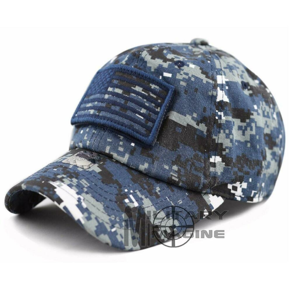 1fcacc5bc5b Details about USA Flag Detachable Patch Micro Navy Digital Tactical Cap Hat  Military Veteran