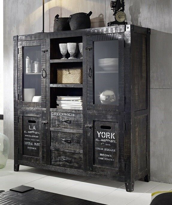 highboard schrank 140cm holz mango ash grey lackiert. Black Bedroom Furniture Sets. Home Design Ideas