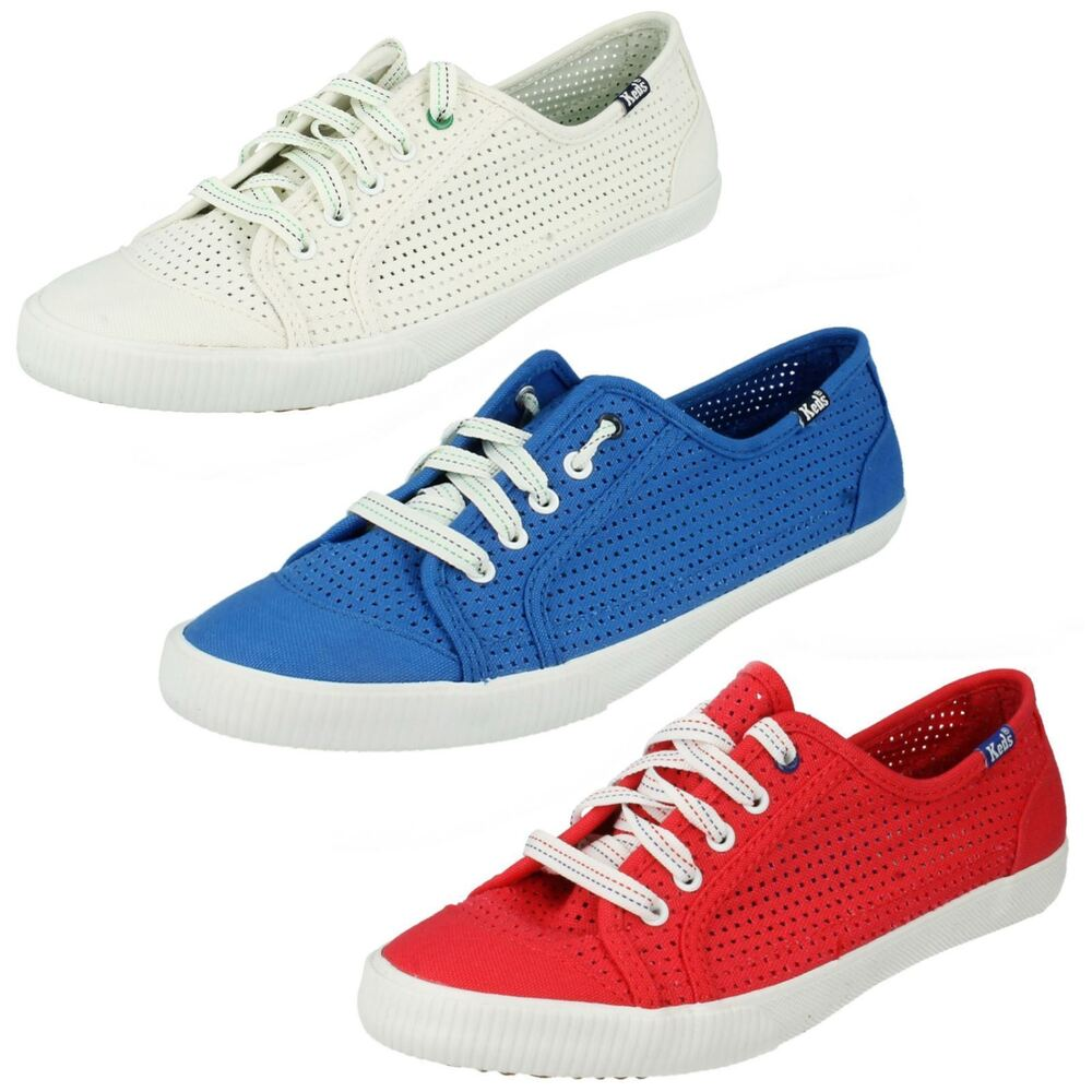 ff19f4f5bf6 Details about LADIES KEDS CELEB PERF LACE UP CASUAL TRAINERS SUMMER FLAT CANVAS  PUMPS SHOES