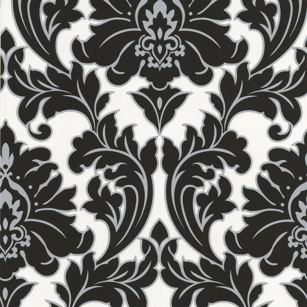Details About Superfresco Easy Paste The Wall Majestic Damask Black White Wallpaper