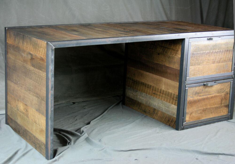 Reclaimed Wood Rustic Home Office: Reclaimed Wood Desk With File Cabinet Drawers. Rustic