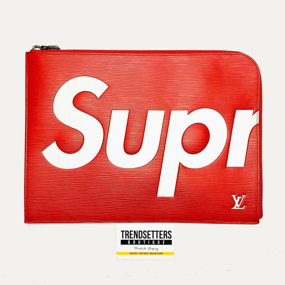 louis vuitton x supreme lv pochette jour gm clutch zip red epi case folder bag ebay. Black Bedroom Furniture Sets. Home Design Ideas