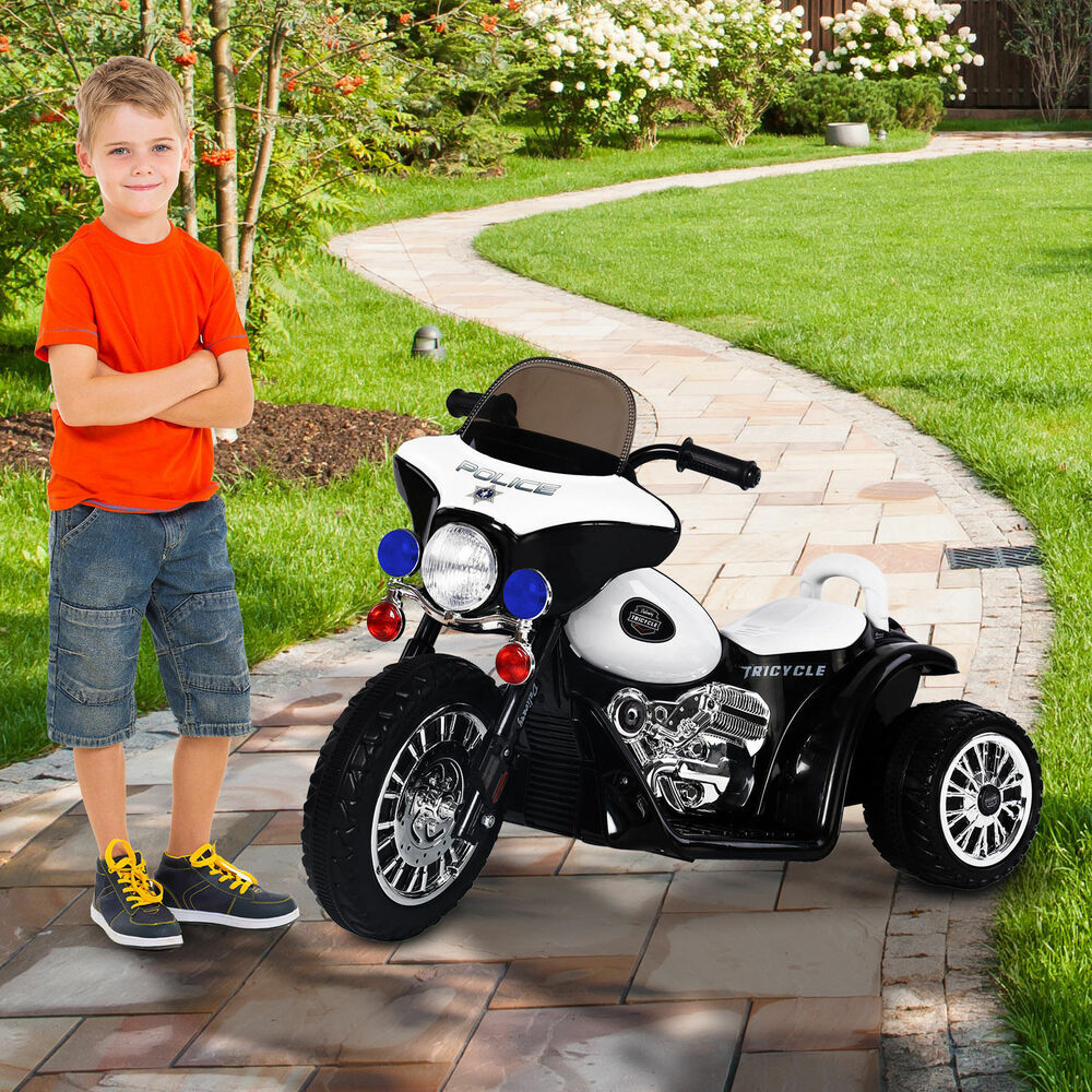 6V Kids Ride On Police Motorcycle Electric Battery Powered