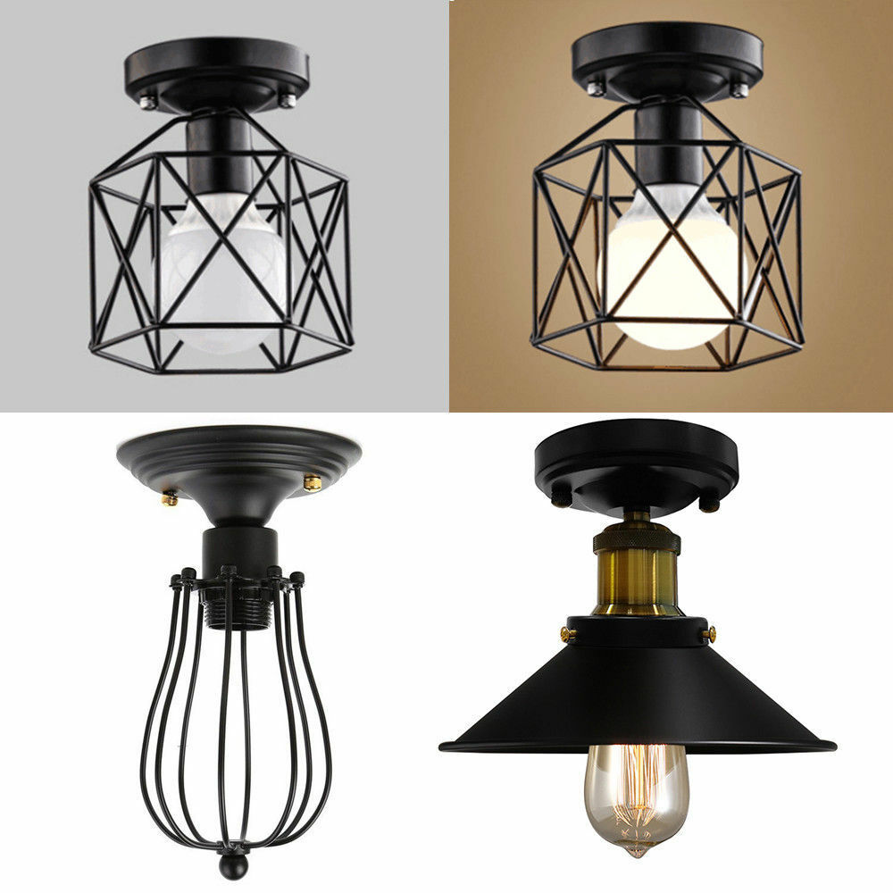 Industrial Vintage Metal Cage Pendant Lamp Semi Flush