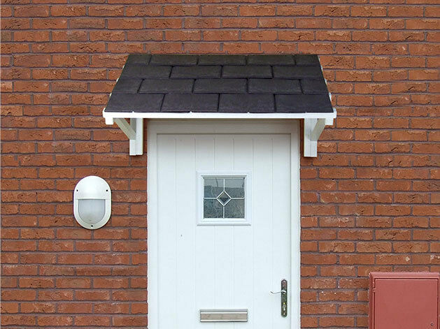 Front door Canopy roof lean to porch Tiled shelter cover Slate effect Tiles & Porch Roof | eBay Pezcame.Com