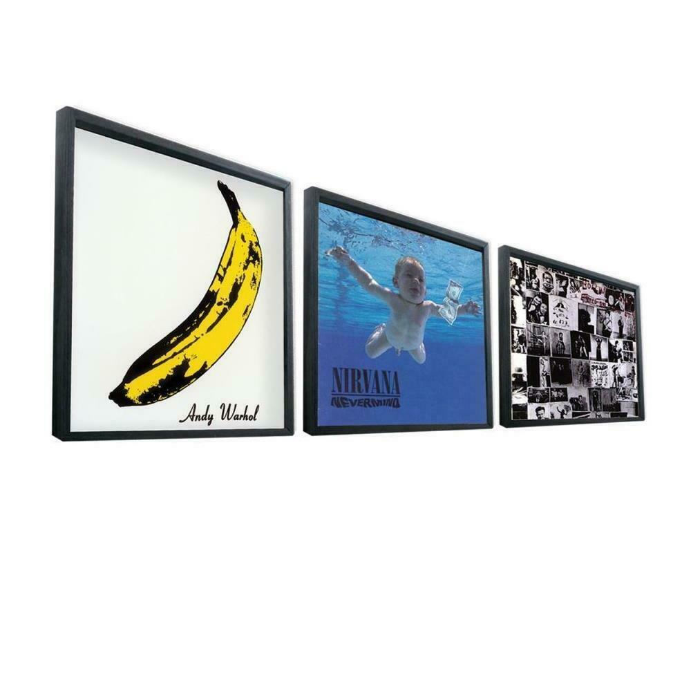 12 record frame black vinyl lp record artwork sleeve. Black Bedroom Furniture Sets. Home Design Ideas