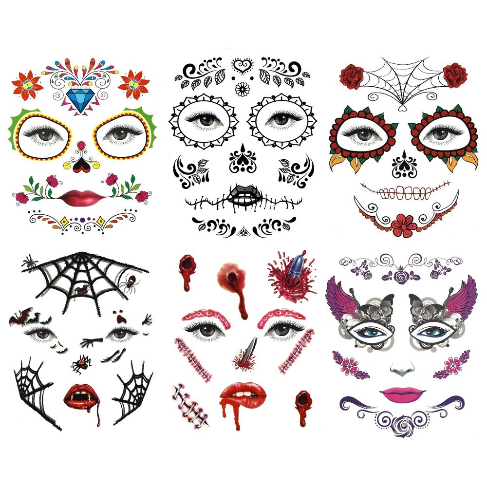 day of the dead temporary halloween eye and face tattoos assorted designs ebay. Black Bedroom Furniture Sets. Home Design Ideas