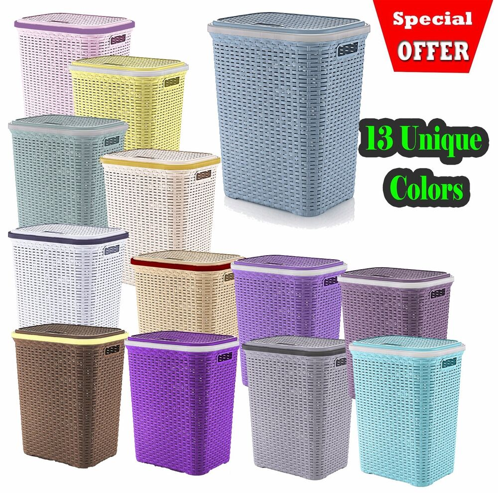 Plastic Laundry Basket Large Washing Clothes Bin Rattan