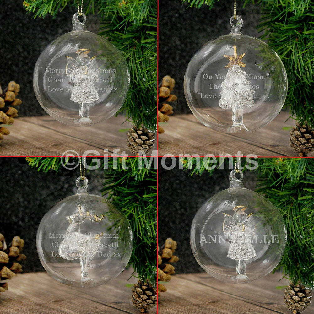 Personalised engraved luxury glass christmas tree baubles for Personalised christmas decorations