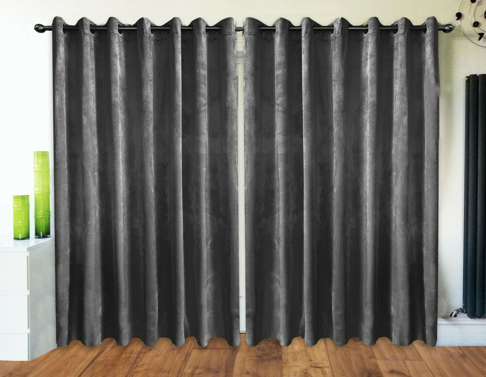 Crush Velvet Curtains Ring Top Eyelet Ready Made Fully Lined Silver NEW