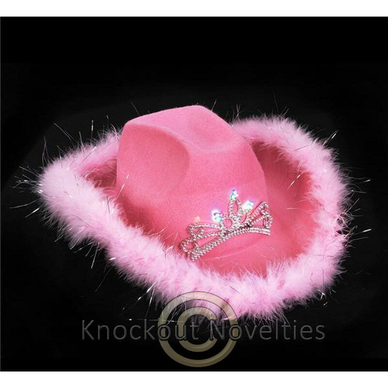 8a38816338a4b Details about Light-Up Tiara Pink Cowgirl Hat with Feathers Fun Costume  Accessory Halloween
