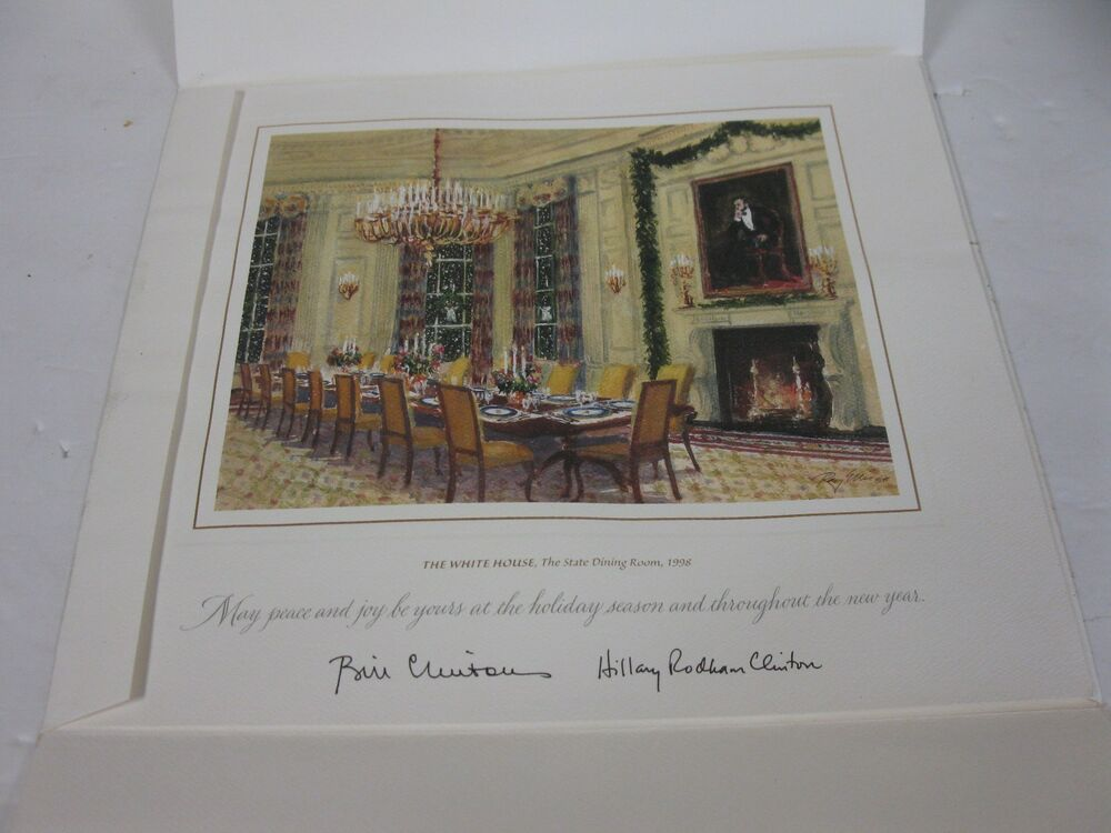 CHRISTMAS 1998 GIFT PRINT BILL HILLARY CLINTON WHITE HOUSE STATE DINING ROOM