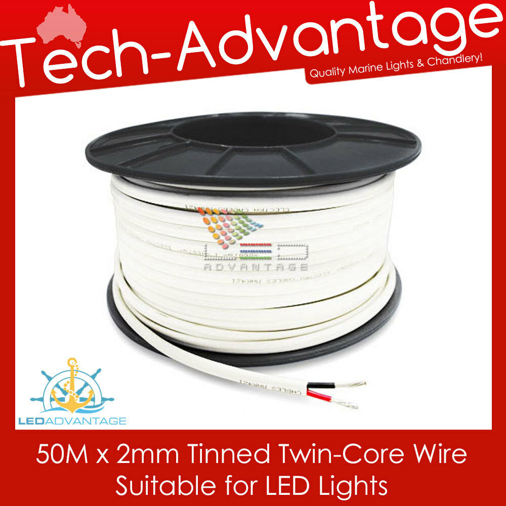 details about 50m x 2mm 7a marine tinned twin core led lights electrical  cable - boat/caravan