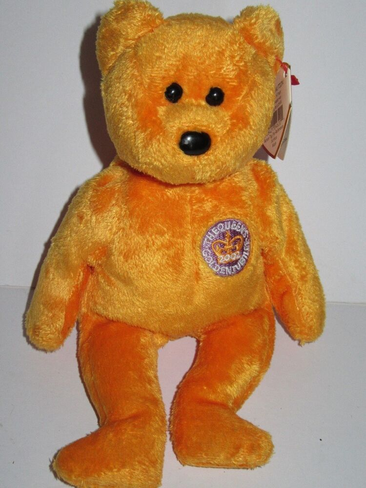 455b6ad5462 TY BEANIE BABIES CELEBRATIONS THE QUEENS GOLDEN JUBILEE ORANGE BEAR NEW TAG