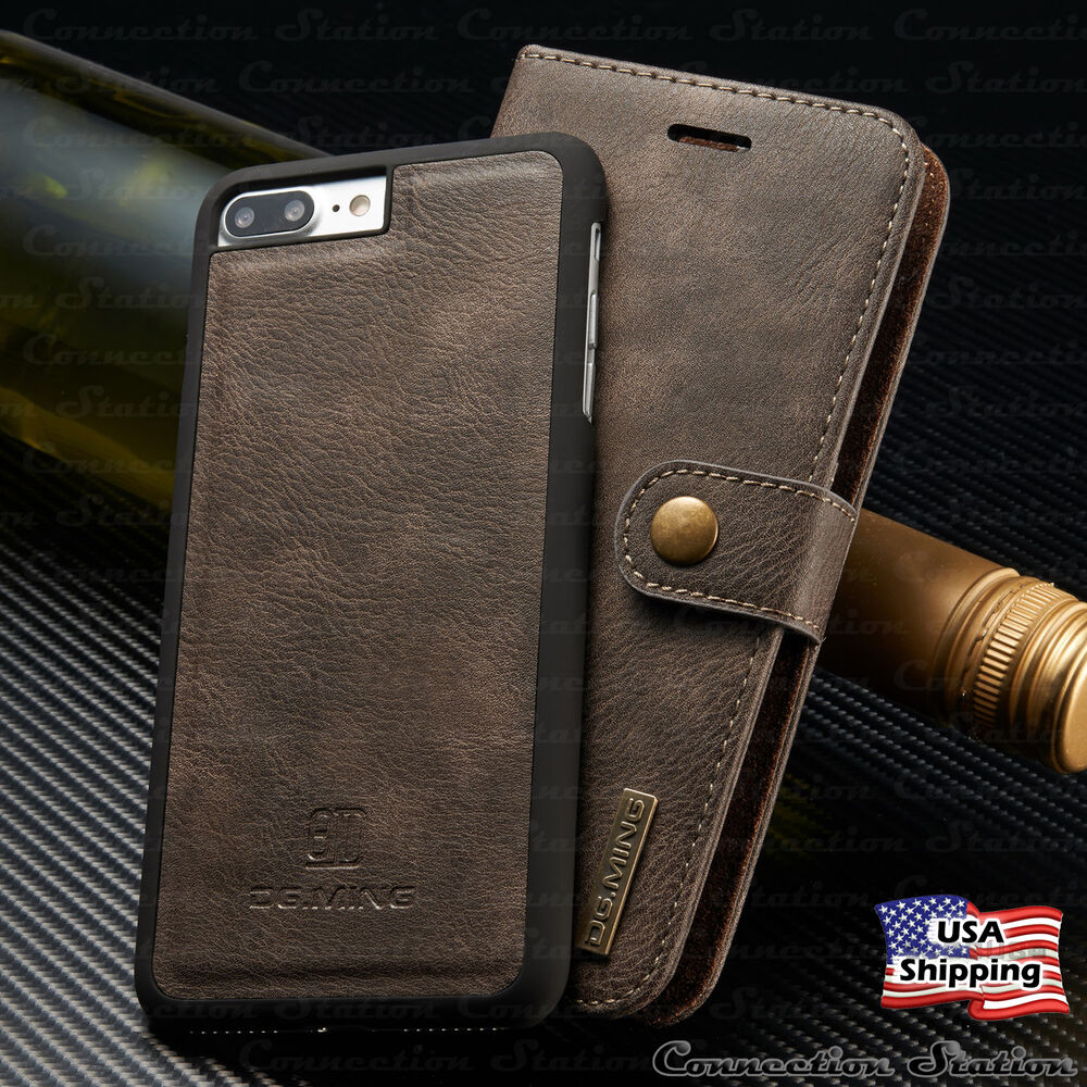 iphone x 8 7 6s plus leather magnetic flip cover removable. Black Bedroom Furniture Sets. Home Design Ideas