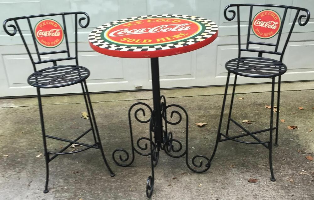 Authentic Vintage Coca Cola Wrought Iron Type Bar Or Patio Table Stools