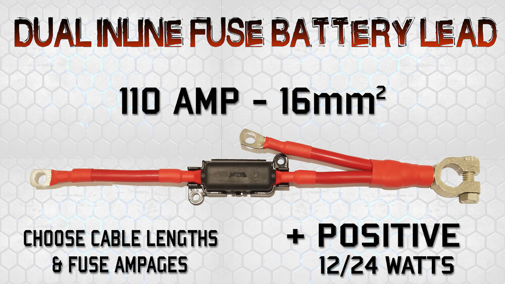 110a dual jumper lead cable with built in inline fuse box charged live  positive | ebay