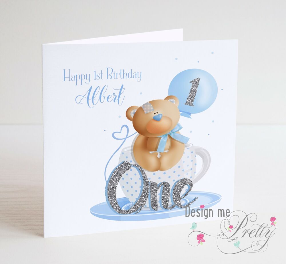 Details About PERSONALISED Baby Boy Toddler Cute Teddy Bear Birthday Card