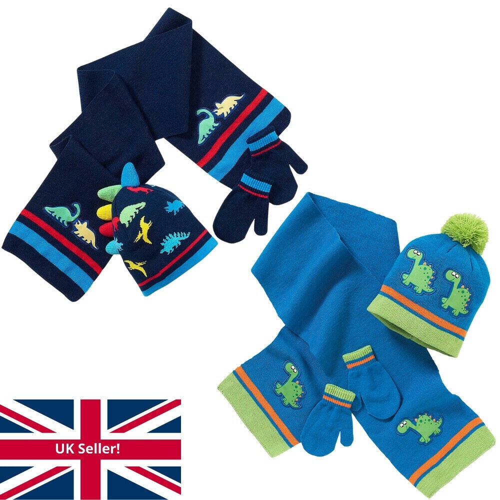 95f607a159d Younger Boys Knitted Dinosaur Bobble Hat Scarf and Mitts Set 2-6 Years Blue