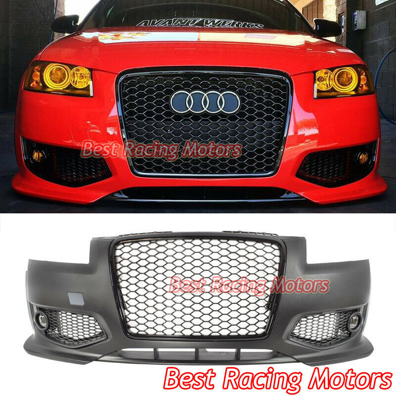 RS3 Style Front Bumper + Black Grill + Lip + Glass Fog Fit