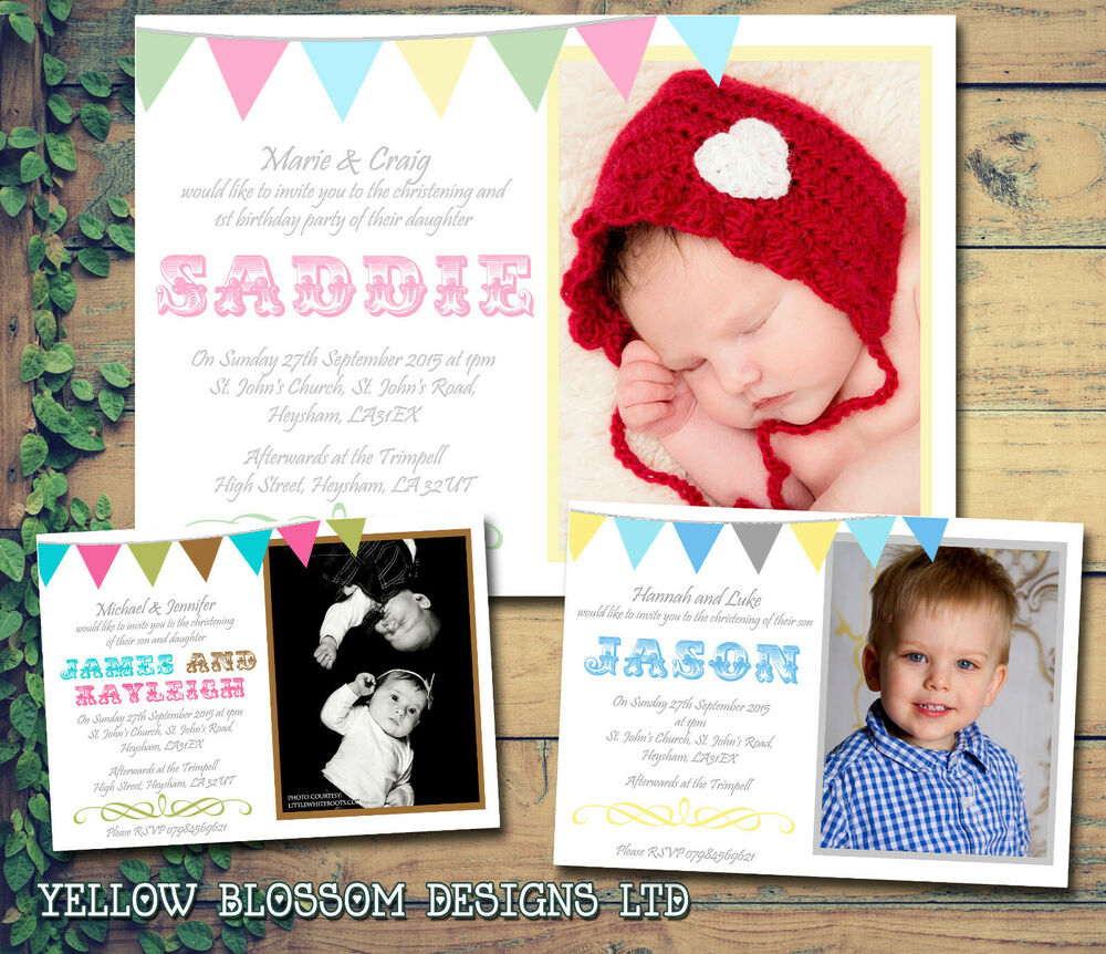 10 Twins First Birthday Christening Naming Baptism Invitations Photo ...