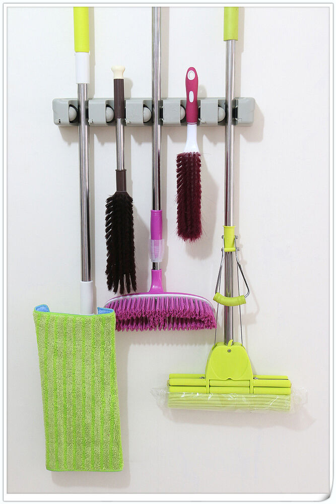 Intbuying Wall Mount Magic Mop And Broom Holder Hanger