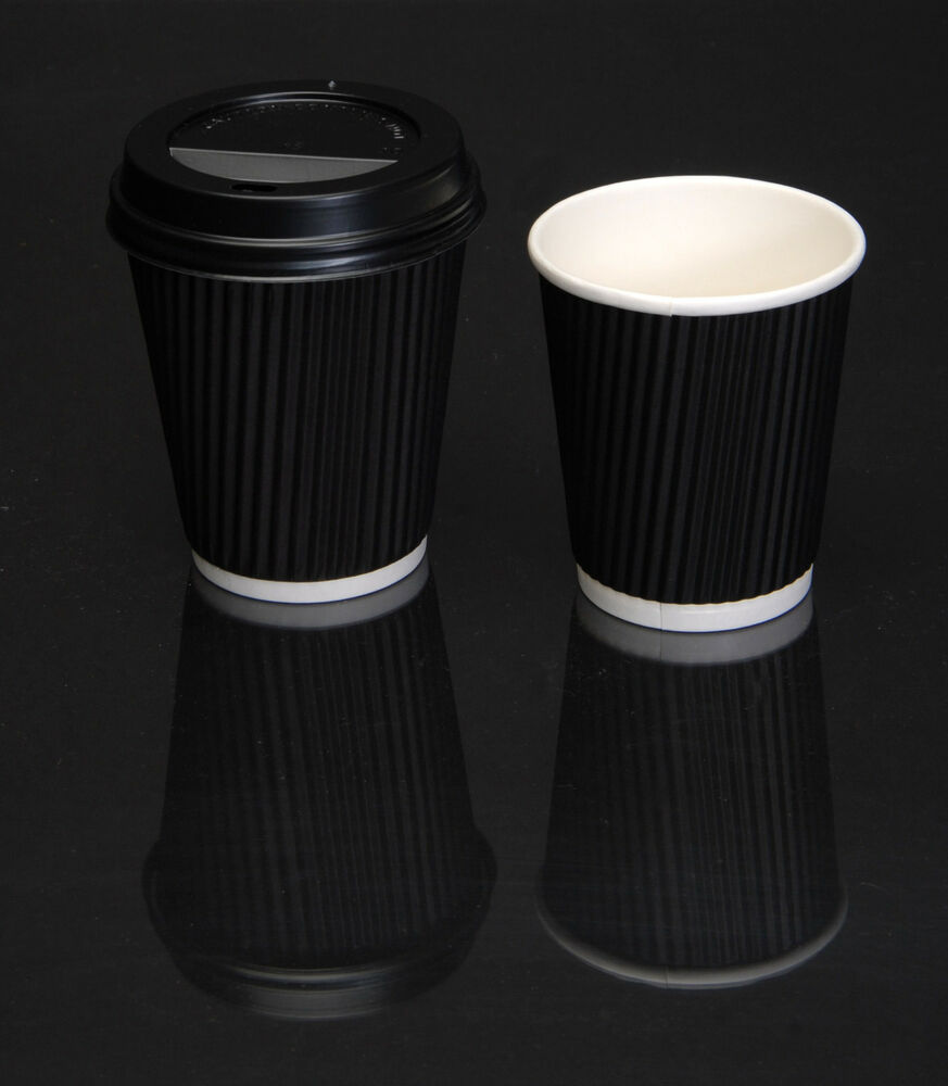 Disposable Coffee Cups And Lids Black Paper Ripple Wall Hot Drink Cup With Lid Ebay