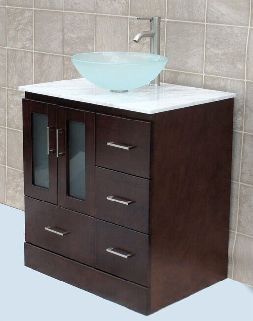 "Ebay Bathroom Vanity With Sink: 30"" Bathroom Vanity 30-inch Cabine White Top Glass Vessel"